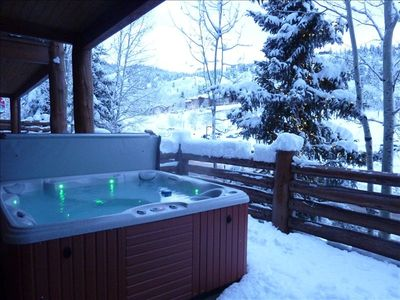 Hottub on a wintry evening.