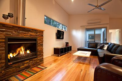 Log fire in living area
