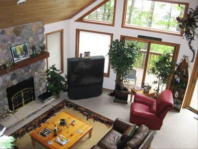 Standing in Loft over Great Room, Stone/ enclosed gas Log Fireplace-Recliner!