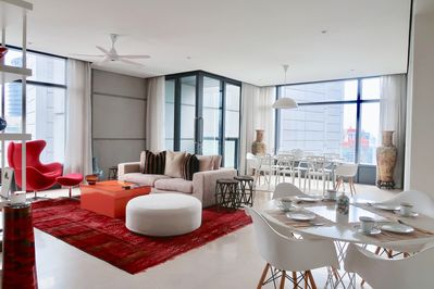 Beautiful living area that overlooks the Petronas Twin Tower as well as the Kual