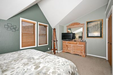 Top floor master bedroom with King bed and flat screen TV