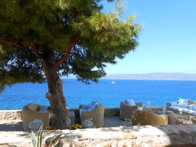 view from the patio to the Peloponnese mainland