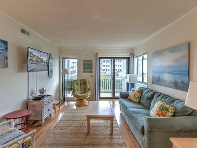 Photo for Oceanfront View from this comfortable condo with pool right across the street to the beach!