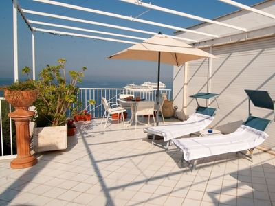 Photo for Lovely apartment with A/C, TV, balcony and panoramic view, close to Positano