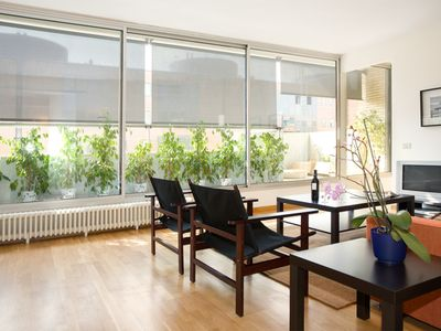 Photo for City Center of Barcelona and 50 m from Beach, terrace, garden, WIFI and parking