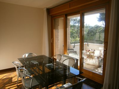 Photo for Apartment + 2 bikes in villa with large park view at 1300 meters from the sea
