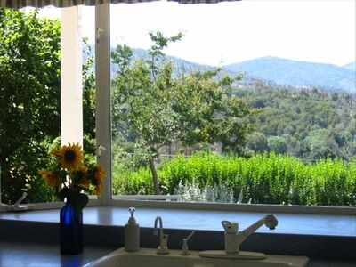 View of Cuyamaca mountain peaks from kitchen bay window