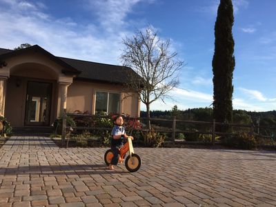 The driveway doubles as a bike racing course.