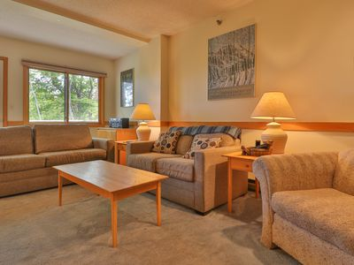 Photo for Dog-friendly, slopeside condo w/ access to skiing, shared pool, and hot tub!