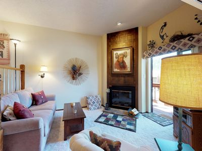 Photo for Split-level condo steps from skiing & dining - easy lake access!