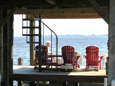 Relax with a book or a fishing rod at the end of the two-level dock.