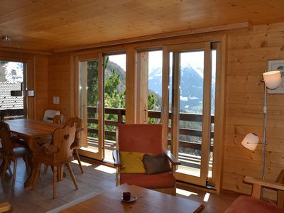 Photo for Outside : chalet near the center of the village, terrace and balcony with garden furniture, beautifu