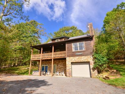 Photo for Log home w/ lake access, hot tub, fire pit, & fire places!