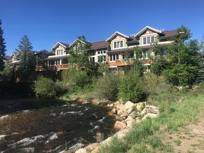 Photo for Exquisite Riverfront Home with Mountain Views and Private Hot Tub, Downtown