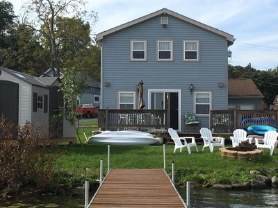 Steps to the water from the back deck - backyard privacy for your family.
