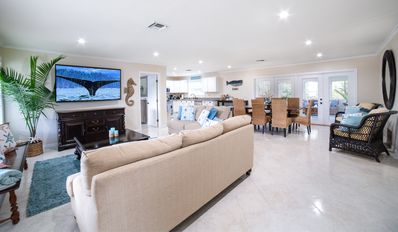 Photo for Perfect Retreat! 2 houses from the Beach,  Secluded Back Yard w/ NEW Hot Tub!