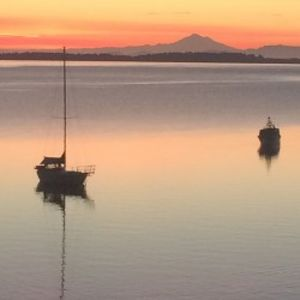 Ocean views at sunrise with Mount Baker in the background
