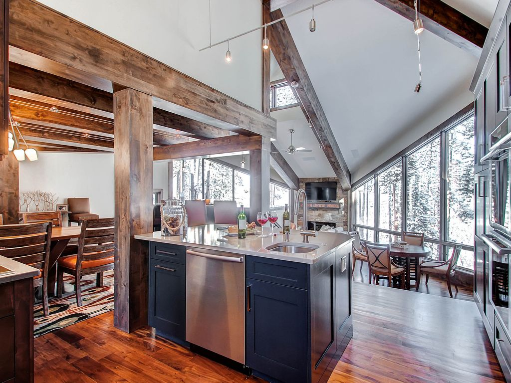 Stunning views of town and beyond from this Breck Mountain Modern Chateau