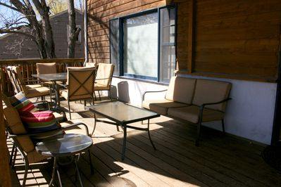 The deck has seating for 12, with the option for more seating to be moved out.