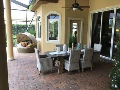 Outside dining includes bench and seats 10