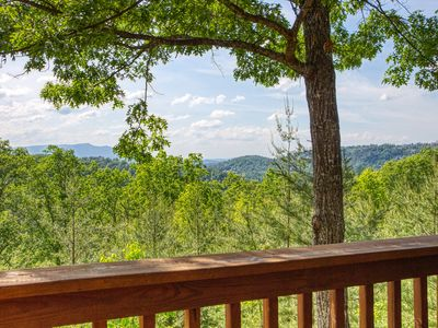 Photo for Smoky Mountain Log Cabin Rental with Panoramic Mountain View and Hot Tub