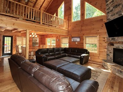 Photo for Secluded~Wooded~Luxury Amenities~Large Hot Tub~FREE WiFi~8-20~Family & Friends