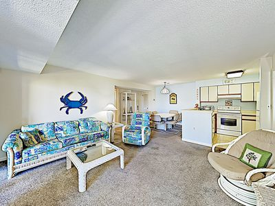 Photo for Walk to Beach! Oceanside Gem w/ Private Deck, Canal Views & Pools