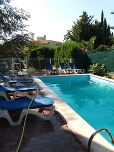 Photo for modern studio, pool, park, 600 m to the beach, WiFi, terrace, parking,