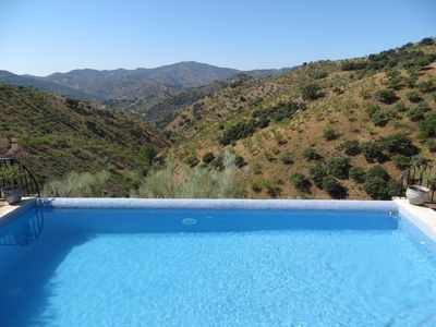 pool vith view down the olive and almond covered valley