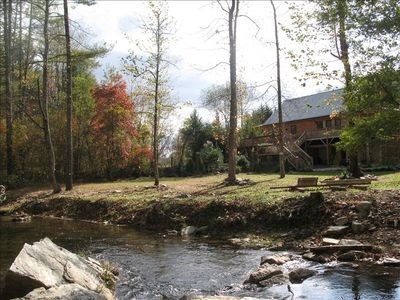 Photo for 4BR Cabin, 5 Acres, Rushing Trout Stream, Hot Tub, Pool Table, Wifi