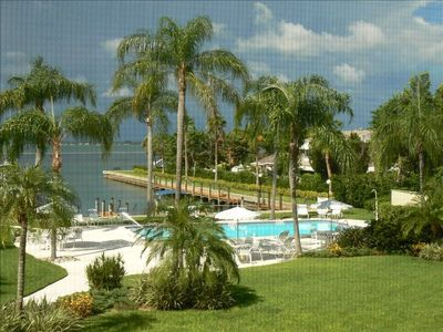 Condo's Beautiful View of Swimming Pool, Boat Dock and Sarasota Bay