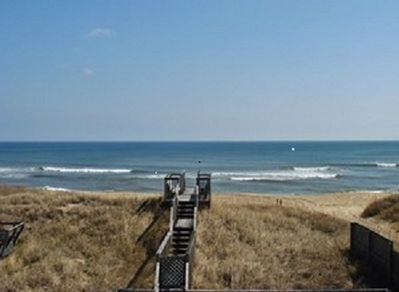 beach from deck. lifeguard station to the right (not pictured)