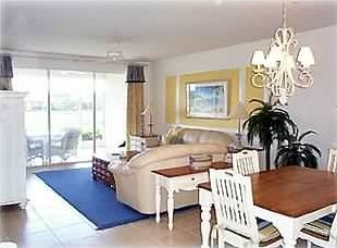 Living Room/Dining, Tiled, leather sofas, TV w/DVD player, dining table seats 6