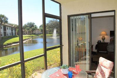 Comfortable lanai  with a superb view of the lake!