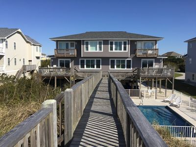 Photo for AMAZING VIEWS!! Beachfront Duplex (West) at the Point with a private POOL!