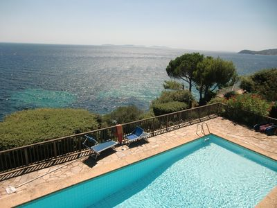 View on pool terrace and sea towards southwest