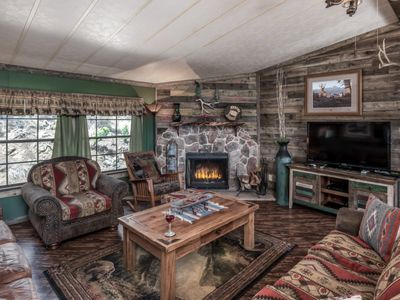 Photo for RUSTIC FURNISHINGS, BUT SUPER NICE,HOT TUB, AND MTN VIEWS, WIFI