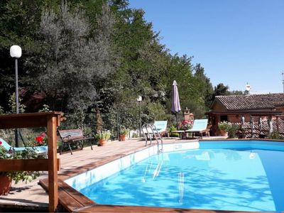 Photo for Affordable villa with private semi-sunken pool and garden near Sarnano