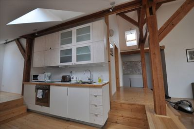 kitchen with hot plate, oven, dishwasher and fridge