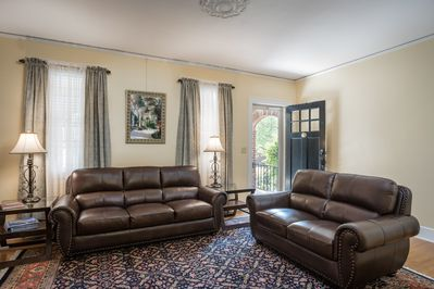Comfortable living room with a large smart television for your enjoyment