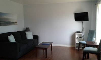 Freshly painted living room, with new sofa bed, chairs, décor, TV and DVD player.