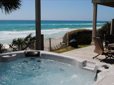 Photo for See family enjoy sand, shallows from gulf front hot tub, shaded & sunny decks.