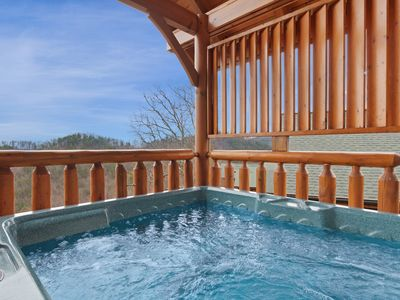 Photo for Mountain view cabin w/ private hot tub, game room, & electric fireplace!