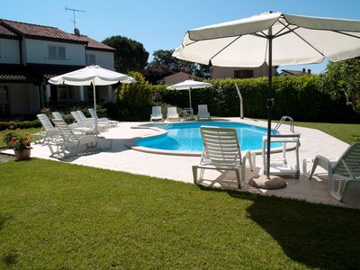 Photo for Holiday apartment with pool in the garden