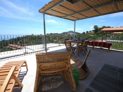 Photo for Cottage new, large terrace overlooking the sea. Between s. Margherita and Chia.