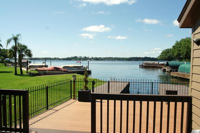 Oversized deck with boat dock and lift.