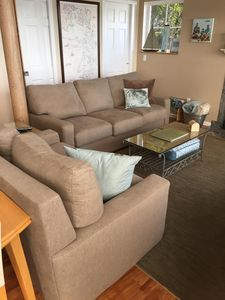 New couches (2017). New sleeper sofa! Queen+ with memory foam mattress.