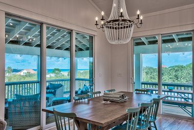 Third Floor: Dining Room with Treetop Views of the Gulf