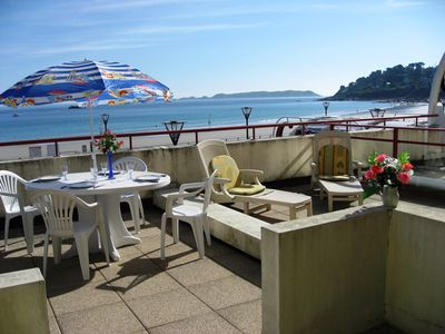 Photo for Apartment beautiful sea views, direct access to the beach Trestraou - Perros-Guirec
