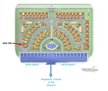 Diagram of Anglers Reef complex showing our waterfront location